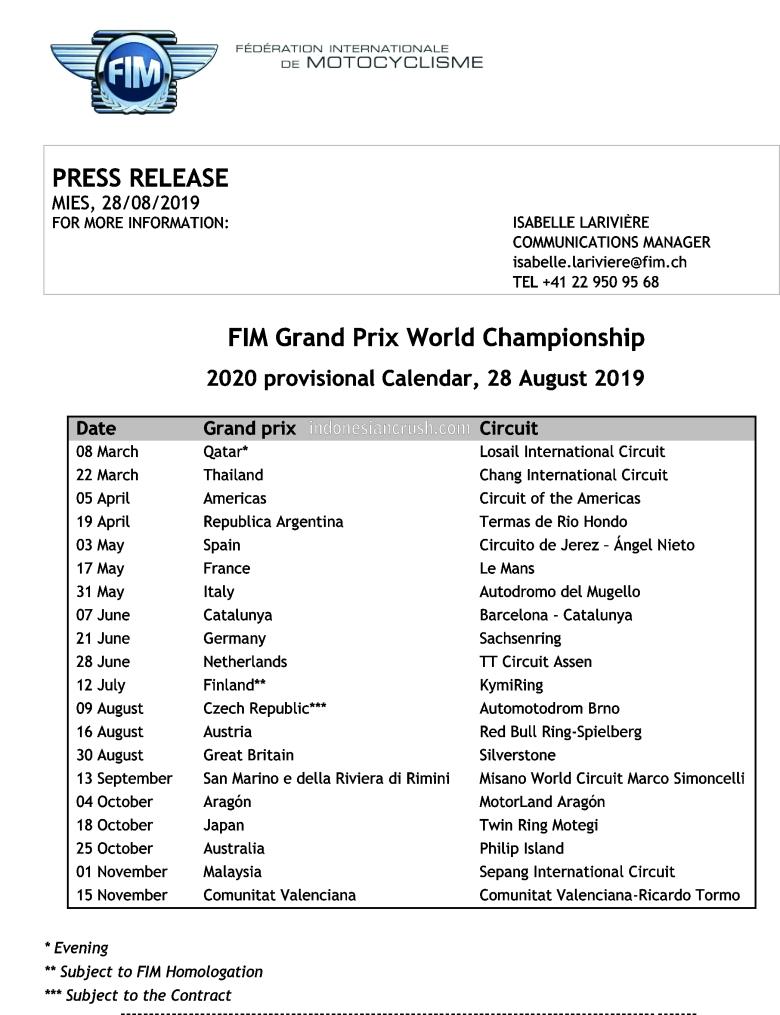 MotoGP Provosional Calendar 2020