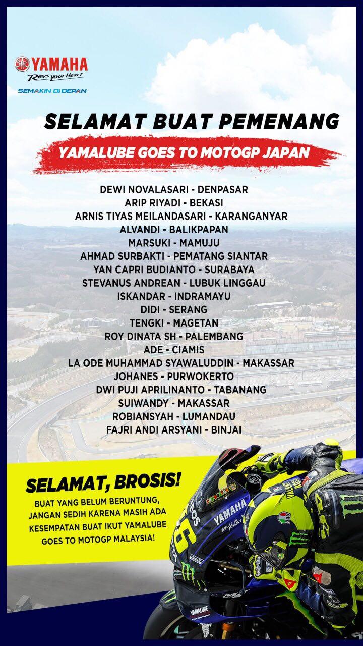 Pemenang Program Yamalube Goes to MotoGP (Nonton MotoGP Jepang)