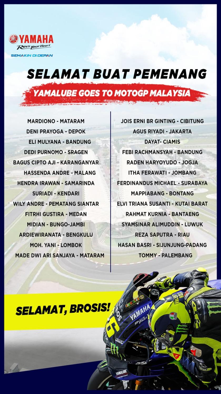 Pemenang Program Yamalube Goes to MotoGP (Nonton MotoGP Malaysia)