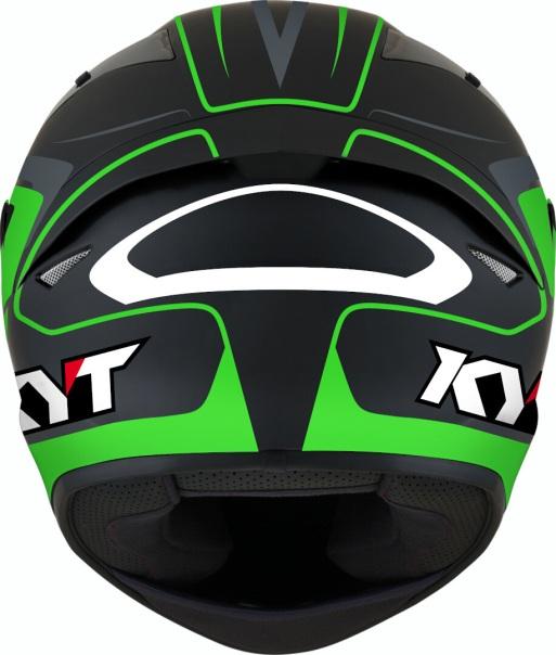 KYT TT Course Overtech Black Green Back