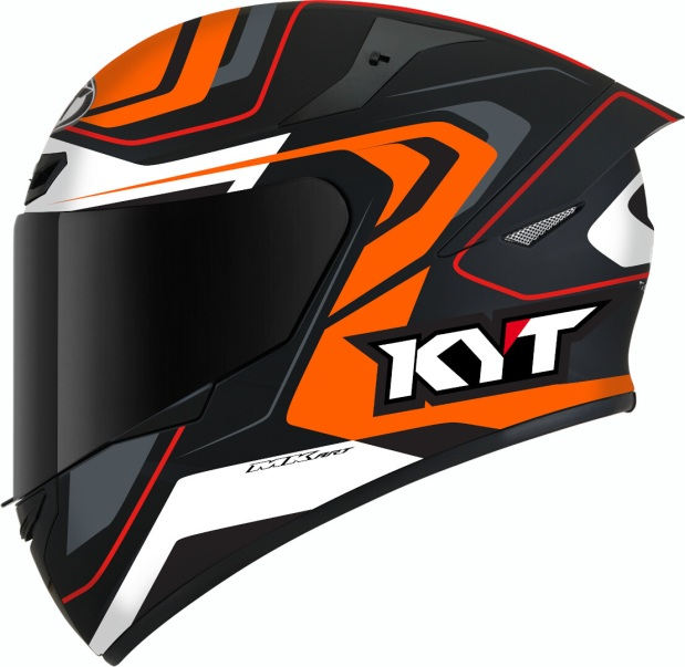 KYT TT Course Overtech Black Orange Side