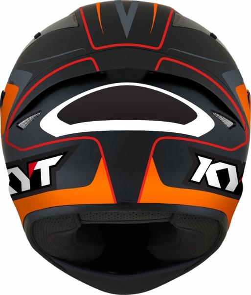 KYT TT Course Overtech Black Orange Back
